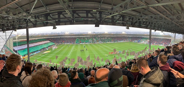 a view from Plymouth Argyle's new grandstand on New Year's Day