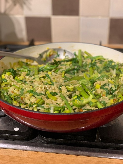 leek and asparagus orzotto